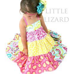 Little Lizard King Ellie Tiered Twirler Jumper Dress Girls Sewing Pattern Sizes 6 mo - 8 years