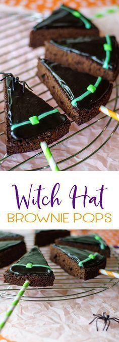 Witch hat brownie pops will be the hit of your Halloween party! Simple to make w… Witch hat brownie pops will be the hit of your Halloween party! Simple to make with a box brownie mix, fast frosting, and an easy piping method! Halloween Brownies, Halloween Snacks, Dessert Halloween, Halloween Goodies, Halloween Fun, Halloween Parties, Halloween Cake Pops, Halloween Recipe, Halloween Decorations