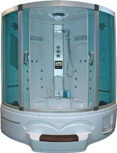 steam whirlpool shower combo. with room inside for two people, with TV and DVD hookup - say what!