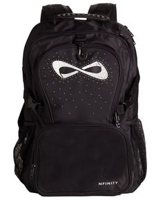 The NEW Nfinity Radiance Backpack features a unique starburst design and has four large compartments. The main compartment is large enough to hold a shoe case. There is a detachable front pouch and padded laptop sleeve. Available only at Team Cheer! #Nfinity #cheer #cheerleading #bling
