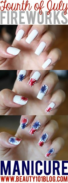 Looking for a festive manicure that is easy to do? This 4th of July Fireworks manicure has you covered! Check it out! #nailpolish #nails