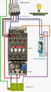Esquema electrico de maniobra interruptor horario con rele termico mas contactor trifasico
