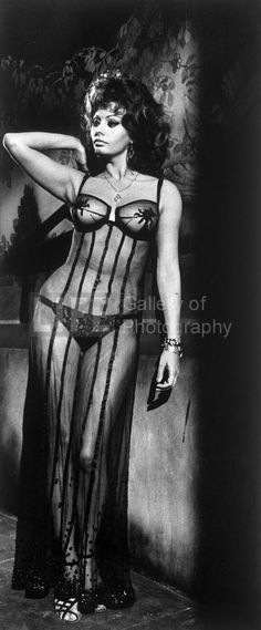 "Sophia Loren in ""Marriage Italian Style"", Black Lingerie — Alfred Eisenstaedt"