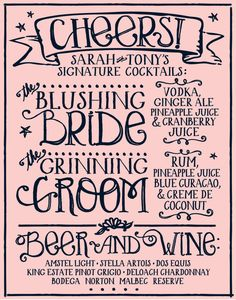 SIGNATURE COCKTAIL MENU /// Custom Wedding Decor 11 X 14 or 12 X 16 Pink & Navy via Etsy