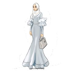 BELLA DALY by namirahsketches Dress Design Sketches, Fashion Design Drawings, Fashion Sketches, Muslim Fashion, Hijab Fashion, Fashion Art, Fashion Models, Fashion Drawing Dresses, Fashion Illustration Dresses