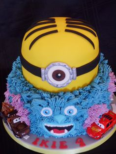 Sulley from Monsters Inc, Minion and disney cars inspired cake :)