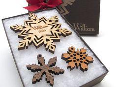 Custom Snowflake Christmas Ornament Gift by NestledPineWoodworks
