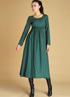 green linen dress