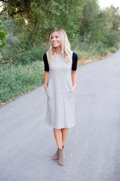 Contrast Sleeve Striped Midi