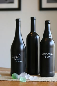 DIY chalkboard paint wine bottles (finished with matte sealant and fine-tip paint marker)