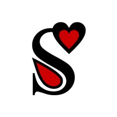 Graphic Design of Heart Clipart - Red Alphabet S with White Background