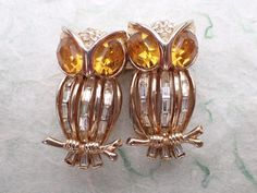 Vintage Signed Coro Duette Baguette rhinestone Owl brooch pin clip figural AB976 #Coro