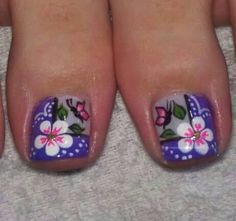Pinceladas para los pies                                                                                                                                                     Más Pedicure Nail Art, Pedicure Designs, Toe Nail Art, Creative Nail Designs, Diy Nail Designs, Pretty Toes, Pretty Nails, Cute Pedicures, Finger