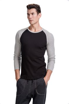 CYZ Men's Long Sleeve Thermal Waffle Baseball Crew Top-BlackGrey-S
