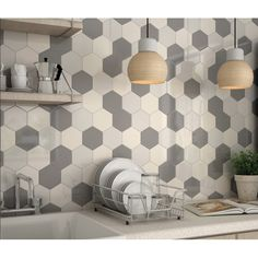 Carrelage mural faïence Scale Hexagon (10 couleurs), hexagnoe 12,4x10,7cm