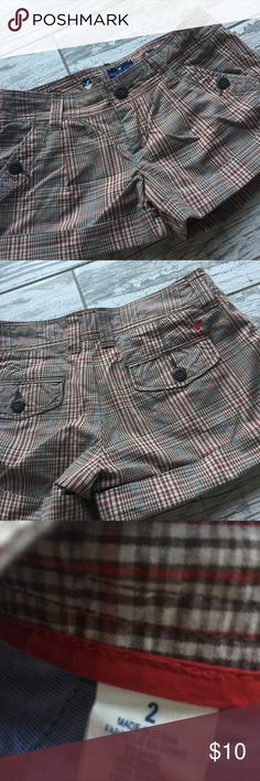 """American eagle Shorts Brown """"winter"""" plaid color...I wore with a sweater and boots for the fall! American Eagle Outfitters Shorts"""