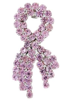 TOWN ONE DOZEN PINK CRYSTAL RIBBON BROOCHES (12)