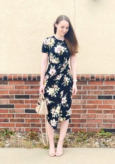 ShopStyle Look by pearlsandprada featuring Steve Madden CARRSON and Dorothy Perkins **Tall Floral Print Crepe Wrap Dress Modest Dresses, Modest Outfits, Skirt Outfits, Classy Outfits, Modest Fashion, Casual Dresses, Cute Outfits, Church Dresses, Pretty Dresses