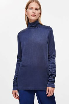 COS image 2 of Long high-neck top in Sapphire