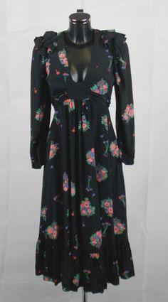 Amazing VINTAGE 1970's OSSIE CLARK FOR RADLEY LULU Floral Dress Size 14 - G05
