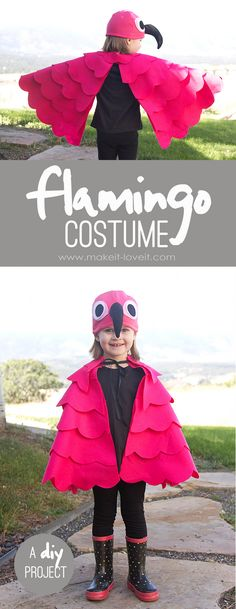 for any age A simple DIY Flamingo Costume.for any age! --- Make It and Love ItA simple DIY Flamingo Costume.for any age! --- Make It and Love It Dress Up Costumes, Cute Costumes, Baby Costumes, Halloween Costumes For Kids, Fall Halloween, Halloween Crafts, Animal Costumes For Kids, Fantasias Up, Carnaval Kids