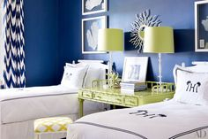 Monogrammed  Bahamas Beach House Guest Room // Architectural Digest - love the color combo! #Monograms