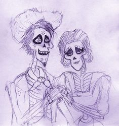 Hector and Imelda as a romantic couple sketch drawing from Coco