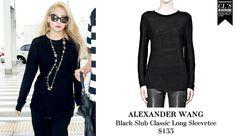 CL | ALEXANDER WANG Black Slub Classic Long Sleevetee