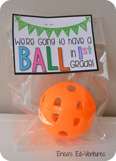We're Going to have a Ball in First Grade.  First Day of First Grade Student Gifts from the clearance sections of Michaels and Target. Free printable tags