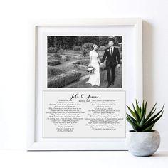 wedding anniversary frame with wedding photo and text - 8x10 / Art print