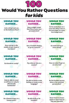 Would You Rather Questions For Kids - these free printable cards are great for car trips, ice breakers or an afternoon boredom buster! Kids will love playing this game! Would You Rather Questions For Kids Would You Rather Questions, This Or That Questions, Would You Rather Kids, This Or That Game, Planning School, Free Printable Cards, Free Printables, Printable Quotes, Fun Printables For Kids