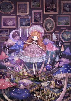 """ロンドン (London), """"追憶の中でいつまでも"""" (""""Forever in Memory"""").  Look at it all!  The tiny doll and the tiny teddy bear and the bunny and the mushrooms with feet (foots?), and of course the skirted legs . . . It's so wonderful."""
