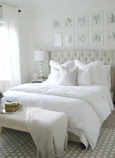 I love how calm and serene this room feels. Tufted headboard