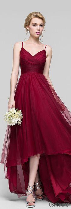 Burgundy chiffon strap gown