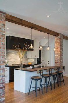 35 suprising small kitchen design ideas and decor 17 Living Room Kitchen, Home Decor Kitchen, New Kitchen, Vintage Kitchen, Home Kitchens, Kitchen Ideas, Remodeled Kitchens, Kitchen Wood, Living Rooms