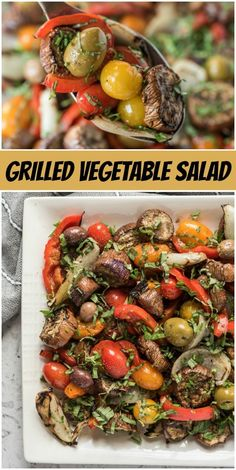 Grilled Vegetable Salad recipe from RecipeGirl.com #grilled #vegetables #vegetable #salad #recipe #RecipeGirl Grilled Vegetable Salads, Vegetable Salad Recipes, Grilled Vegetables, Summer Recipes, Healthy Dinner Recipes, Cooking Recipes, Recipe Girl, Stuffed Peppers