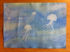 Schilderen // kwallen in de zee // eigen werk // propedeuse jaar 2014 // dieren
