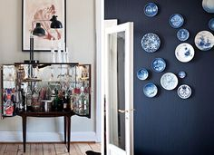 love Charlotte Adrian's blue and white wall