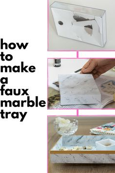 Love Marble Trays but maybe don't love the price? Showing step by step how to take an old acrylic box frame (or whatever you want to use) and turn it into 'marble'. This is my kind of DIY project and a very useful home decor DIY. Diy Home Crafts, Easy Diy Crafts, Easy Diy Projects, Diy Home Decor, Marble Tray, Marble Painting, Painted Trays, Acrylic Box, Box Frames