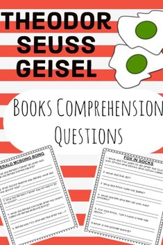 Comprehension questions for 24 Seuss titles. Comprehension Activities, Comprehension Questions, Reading Comprehension, Dr Seuss Week, Dr Suess, Cloze Reading, Pre-school Books, Listening Centers, Teaching Letters