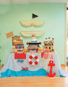 Pirate themed birthday party via Kara's Party Ideas Pirate Birthday, Pirate Theme, Pirate Party Favors, 4th Birthday Parties, Birthday Party Decorations, Nautical Party, Mermaid Parties, Decor Ideas, Cake Recipes