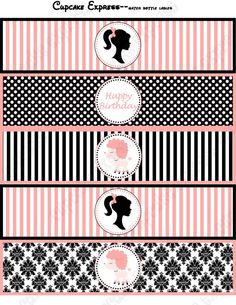 DIY Barbie in Paris Printable Birthday Party Water Bottle Labels wraps pink black stripes polka dots damask