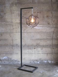 Dodecahedron Standing Lamp - TIG-welded by hand by Zai Divecha.