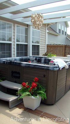 Pergola over hot tub...would want brown though.
