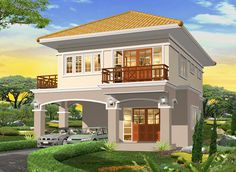 Foto House Outside Design, House Front Design, Cool House Designs, Modern House Design, Two Story House Design, 2 Storey House Design, Village House Design, Modern Bungalow House, Modern House Plans