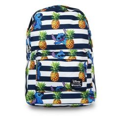 Lilo & Stitch Stripes Pineapple Print Backpack - Loungefly - Lilo & Stitch - Backpacks - Pineapples and Stitch - what more could you possibly ask for? Made of printed nylon, this Lilo & Stitch Stripes Pineapple Print Backpack features an interior laptop pocket, an outside pocket, a handle, and straps and measures about 17 1/2-inches tall x 11 1/2-inches wide x 5-inches deep. Lilo has one, and so should you!