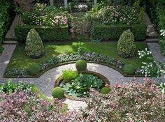 Co Co's Collection : Formal garden # structure # roses # boxwood. Pretty in pink formal garden Formal Garden Design, English Garden Design, Back Gardens, Small Gardens, Formal Gardens, Outdoor Gardens, Boxwood Garden, Garden Pond, Garden Gate