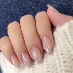 Clear nude nails are perfect for a little corporate sparkle Perfect Nails, Gorgeous Nails, Love Nails, My Nails, Gel Nagel Design, Kawaii Nails, Japanese Nails, Pretty Nail Art, Super Nails