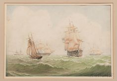 William Frederick Settle (British, 1821-1897) Seascape with Ships. | Sold for $197 | Auction 2918T | Lot 1340