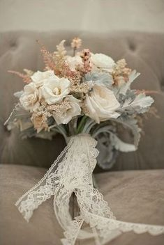 22 Pretty Lace Wedding Ideas - Vintage wedding bouquet with lace ribbon. #weddingbouquet #lace